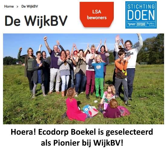 Ecodorp Boekel als Pionier bij WijkBV