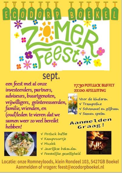 Wil jij ook naar het zomerfeest van Ecodorp Boekel?